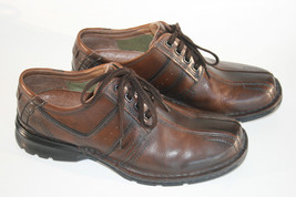 Clarks Bicycle Toe Oxford Men's Shoes Dark Brown Leather Lace Up  8.5M - $26.00