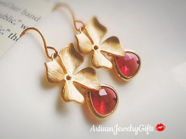Gold Orchid Earrings Pink Gem Earrings Matte Gold Orchid Gem Earrings Br... - $38.00