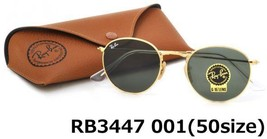 RAY-BAN Round Metal Sunglasses RB3447 001 50MM Green Lens With Gold Frame - $89.05