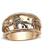MJS Rose Gold Tone Stainless Steel Animal Elephant Fashion Ring Size 9 - $13.95