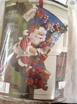 "Bucilla Musical Santa in the workshop Stocking Felt Applique Christmas Kit 18"" - $39.59"