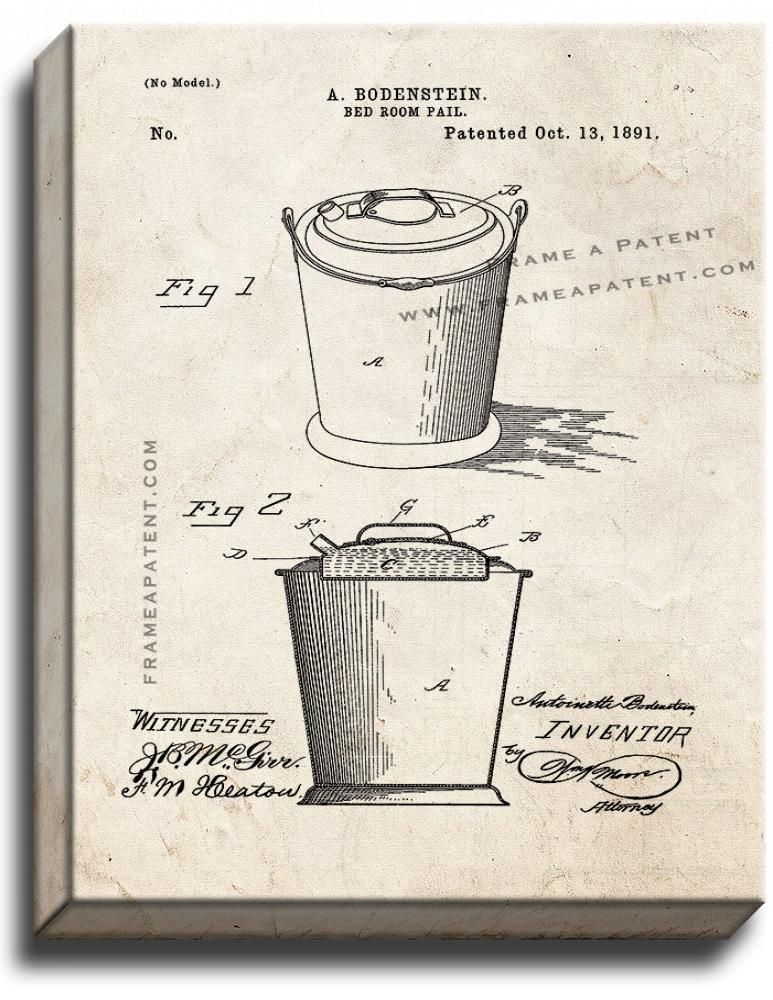 Primary image for Bedroom Pail Patent Print Old Look on Canvas