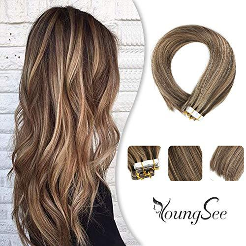 "YoungSee 22"" Tape in Brown Hair Extensions Piano Color #4 Dark Brown Highlight w"