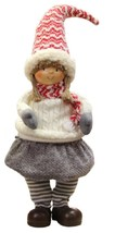 """Northlight 16"""" Jovial Young Girl Gnome Ivory Cable Knit Sweater Christma... - $318,16 MXN"""