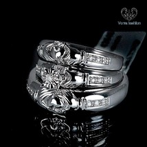 Bride & Groom Trio Ring Set Wedding Band Round Cut CZ 14k White Gold 925 Silver - $149.99