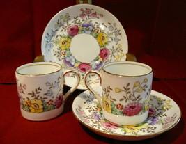 Set Of 2 Crown Staffordshire Demitasse Cup Saucer Set F15465 - $22.00