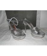 Via Spiga New Store Display Womens Aida Silver Leather Platform Heels 10... - $60.28