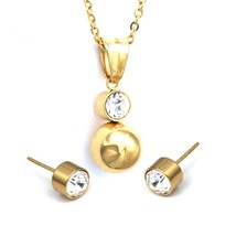 Shiny Ball Earrings With Necklace Pendant Women Jewelry Sets Stainless Steel Gol - $19.46