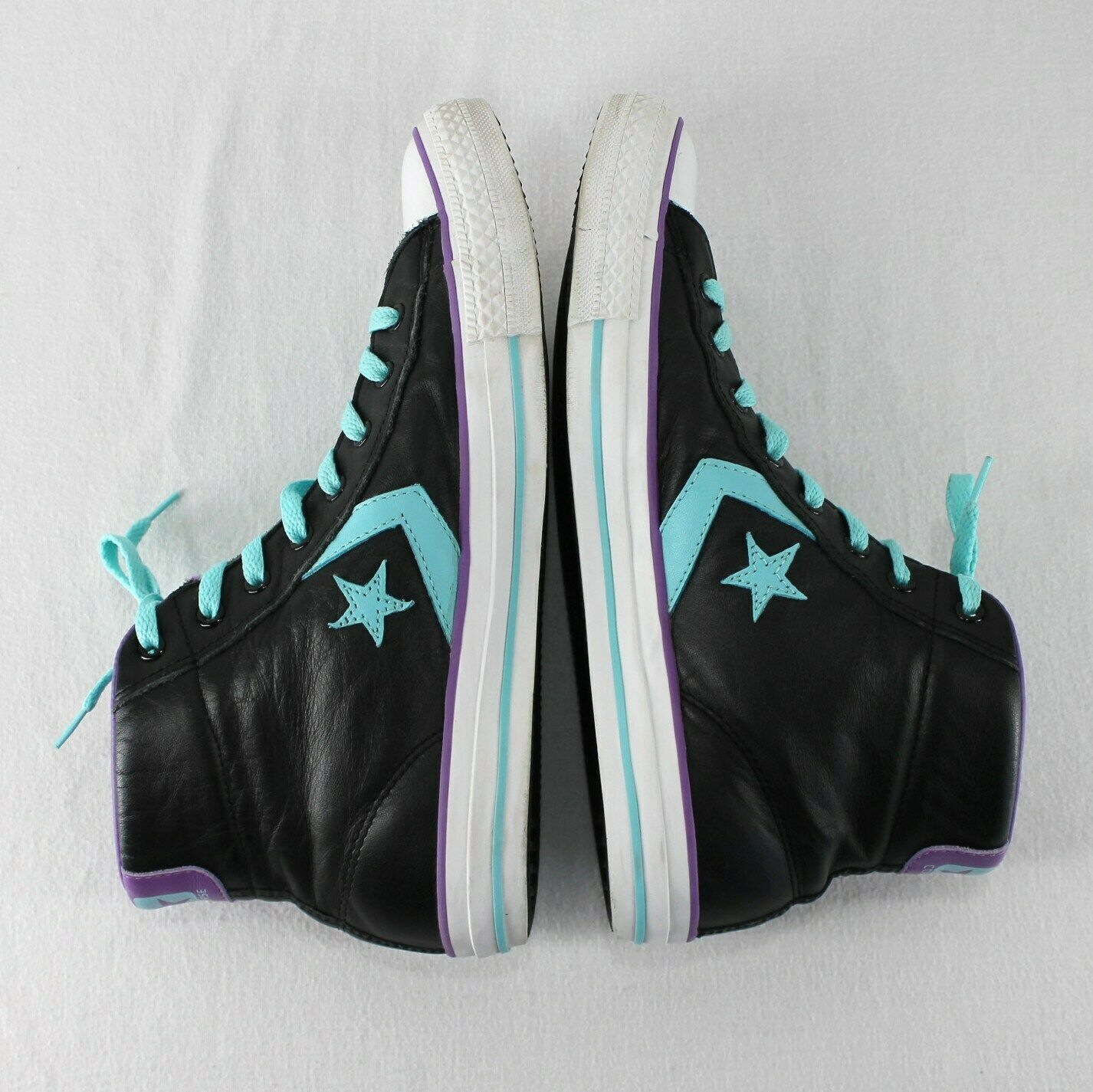 Converse All Star Leather High Top Shoes Mens 9 Womens 11 Black Blue Purple image 7