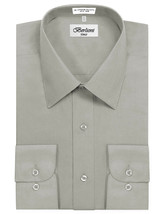 Berlioni Italy Men Grey Classic French Convertible Cuff Solid Dress Shirt - M