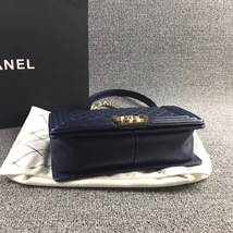 AUTHENTIC CHANEL DARK BLUE QUILTED LAMBSKIN MEDIUM BOY FLAP BAG LIGHT GOLD HW image 3