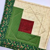 Christmas Pot Holder Quilted Handmade Holiday Log Cabin Block Heat Resistant image 8