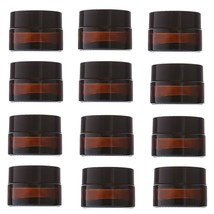 12pcs 20g Empty Amber Glass Cosmetic Makeup Cream Container Plastic Blac... - $35.52