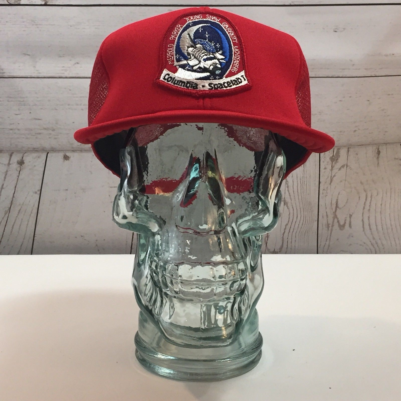 Columbia Spacelab Patch Front Red Mesh Adjustable Truckers Cap Hat NOS