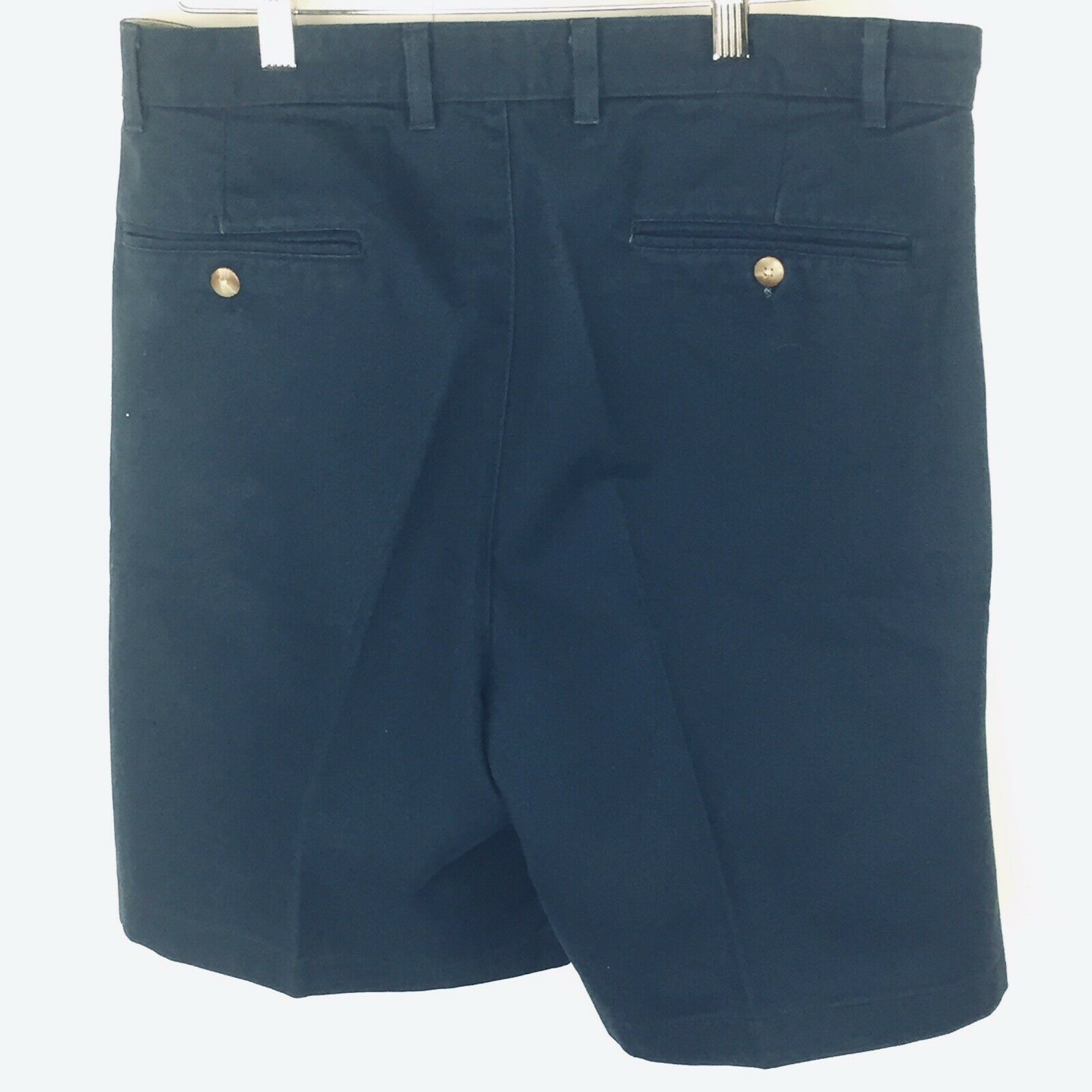 Roundtree and York Mens Shorts size 34 Navy Blue Cotton Pleated Front  image 3
