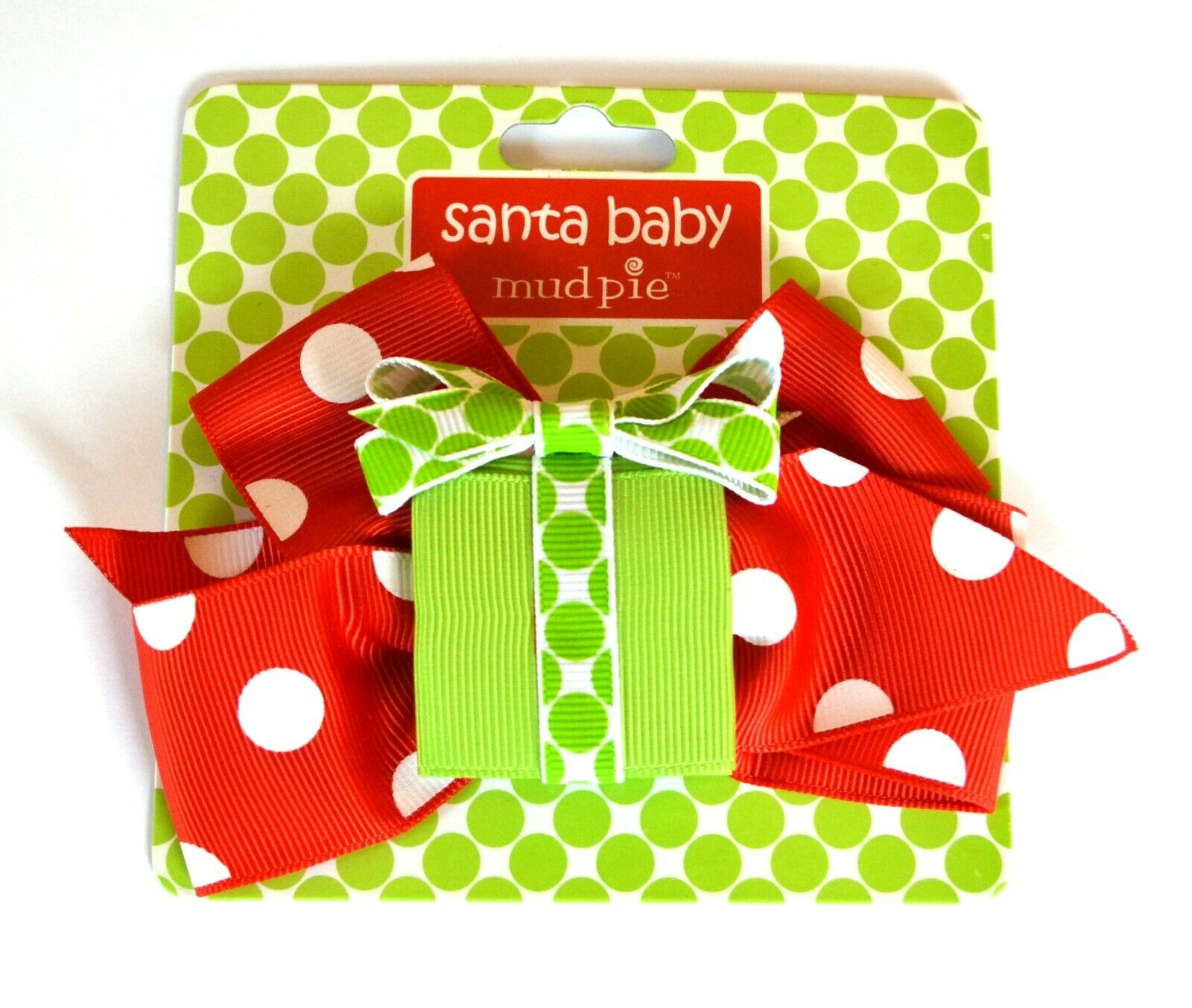 Mud Pie Santa Baby Christmas Holiday Hair Bow Clip Red Polka Dot - $6.99