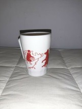 Vintage Hazel Atlas Milk Glass Little Red Riding Hood Wolf Mug Red Graphics Rare - $18.99