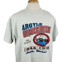 Vintage Argyle WI Sesquicentennial T-Shirt XL 1994 Gray 50/50 Single Sti... - $18.74
