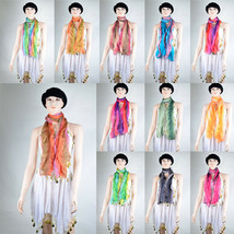 100% Polyester Scarf Head Wrap Beach Shawl Women Gradient Multicolor Rai... - $7.99