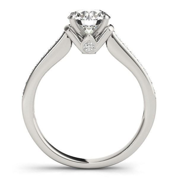14k White Gold Round Diamond Engagement Ring Band Stones (1 1/8 cttw)