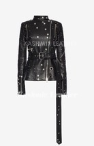 New Woman Classic Black Silver Rivets Studded Unique Belted Biker Leathe... - $261.04