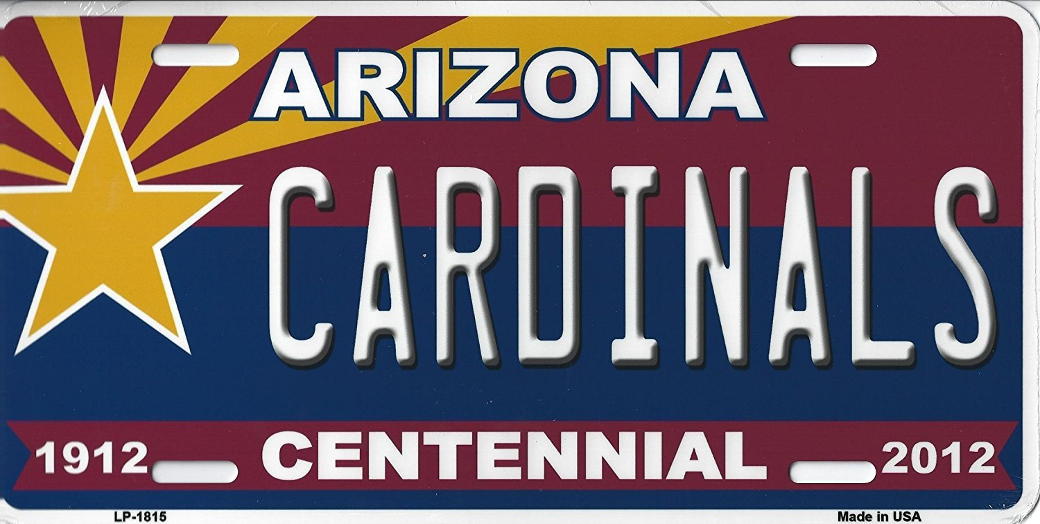 Cardinals Arizona State State Background Metal License Plate (Cardinals Cent.)