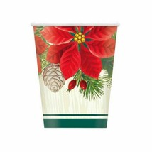Red Green Poinsettia Christmas 8 Ct Paper 9 oz Hot Cold Cups - $4.35