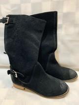 Anthropologie KELSI DAGGER Black Suede Boots Mid Calf Buckle Size 7.5 M - $24.74