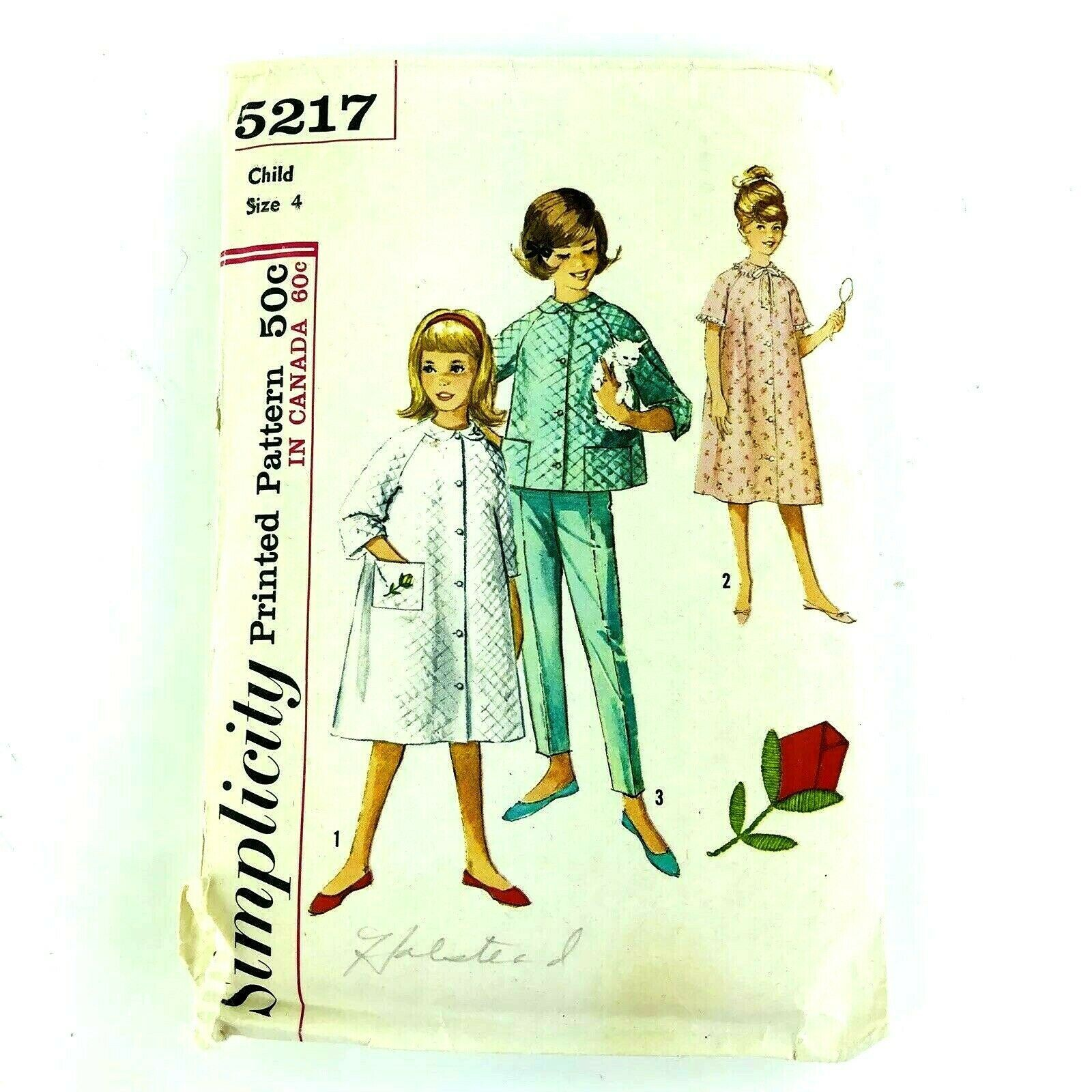 Primary image for Vintage Sewing Pattern 1960 Childrens Pajama Robe Top Pants Girls Size 4 PA293