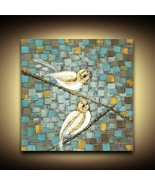 Love Birds on a Branch Wall Art PRINT on Stretched Wired Ready to hang C... - $245.00