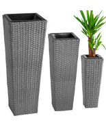 3X Rattan Garden Tube Planter Vase Flower Pots Patio Furniture Garden - ... - $123.75