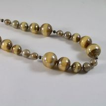 NECKLACE ANTICA MURRINA VENEZIA MURANO GLASS SPHERES YELLOW BROWN, 45 CM image 3