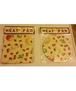 SET of 2 Natural Bamboo Heat Pads, FRUITS, square & round - $12.86