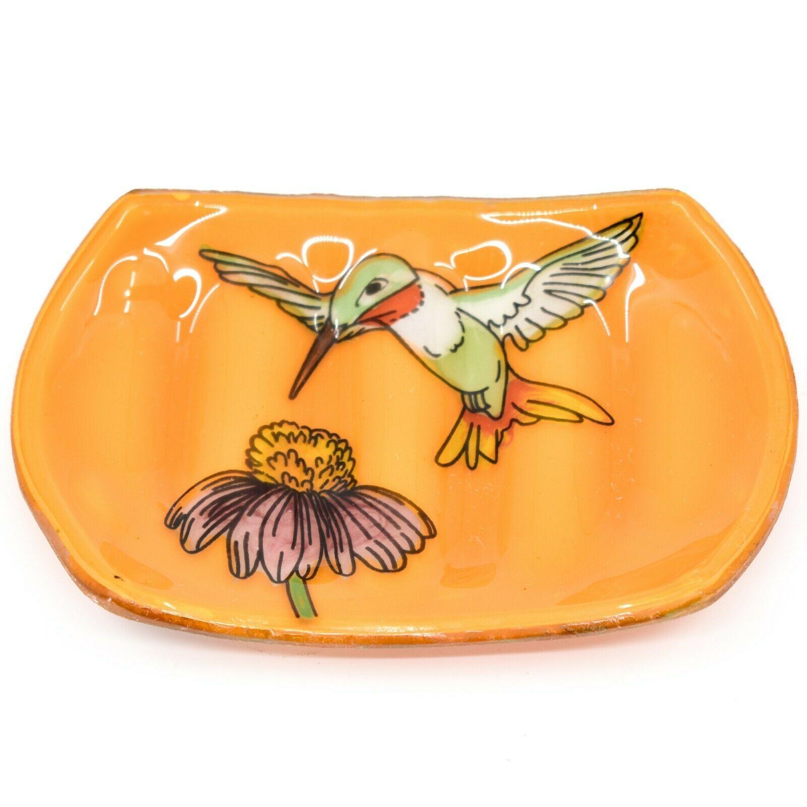Fused Art Glass Hummingbird Bird Design Orange Soap Dish Handmade Ecuador