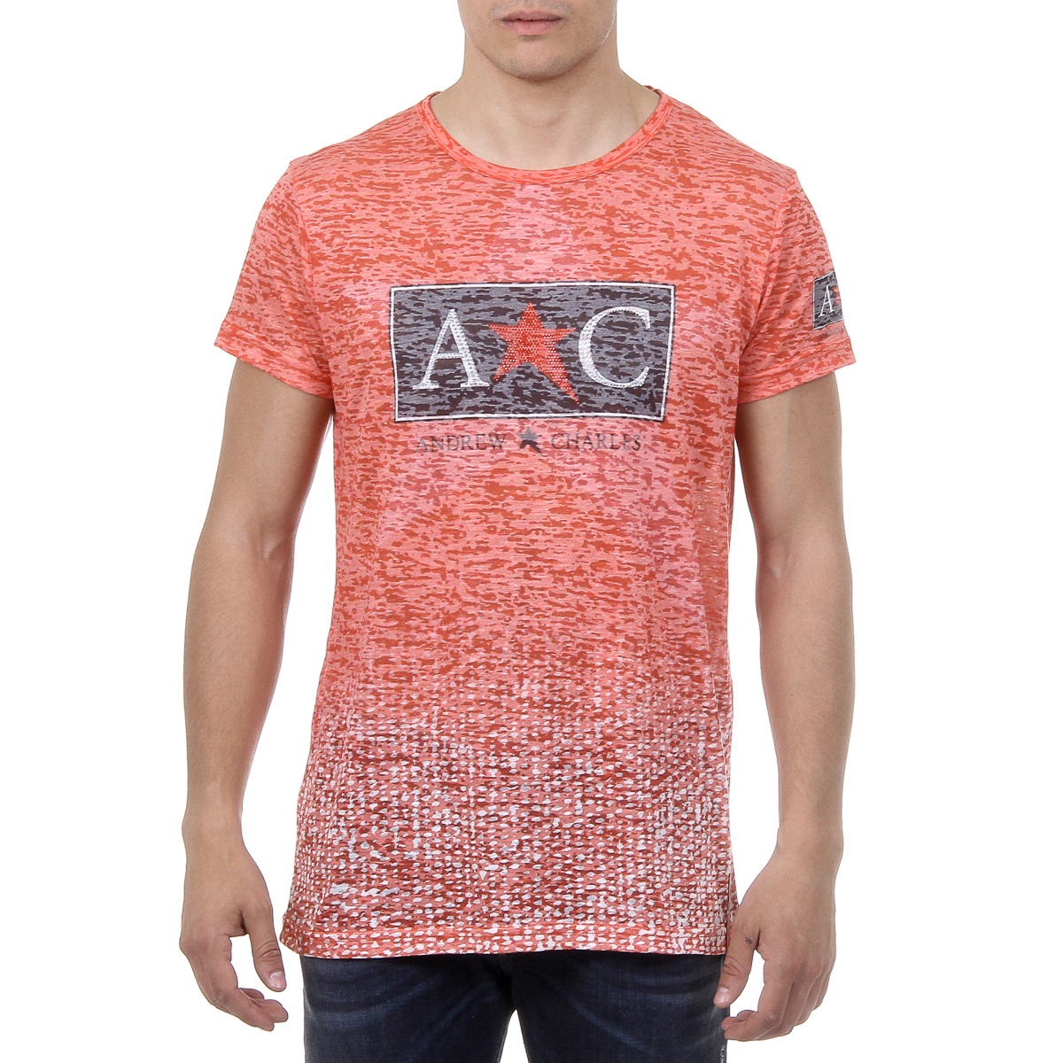 Primary image for Andrew Charles Mens T-Shirt Short Sleeves Round Neck Red LEVI