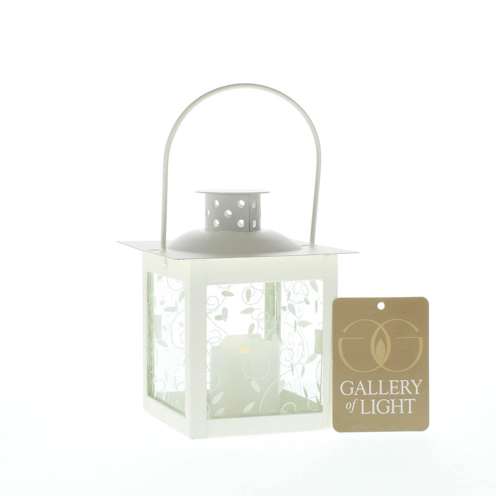 Lantern Candle White, Small Metal Lantern Candle Holder Decor
