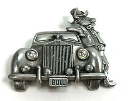 Vintage JJ Brooch Bull Cow Western Cowboy Longhorn Car Pewter Pin Rockab... - $14.84