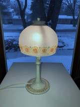 Aladdin Muncie Cast Metal Vintage Lamp w Orig Shade Hand Painted Wired Working - $49.00