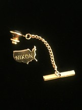 Vintage 60s NIXON Gold USA Tie Tack with Chain- rare!