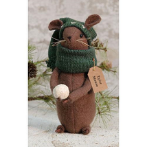 "farmhouse primitive country rustic Christmas Tyler Mouse w snowball 7"" doll - $34.99"