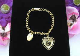 "Letter E Heart Charm Bracelet Vintage Oval L Black Enamel Goldtone Chain 7 1/2"" - $12.99"