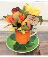 AG Designs Fall Harvest Decor - Give Thanks Floral Tea Cup #520/05 - £11.48 GBP
