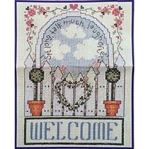 Welcome Garden Gate Topiary Heart 5 x 7 in Counted Cross Stitch Kit Buci... - $5.99