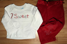 "Girl's Size 12 M 9-12 Months 2 Pc White TCP ""SWEET"" Candy Cane L/S Top &... - $18.00"