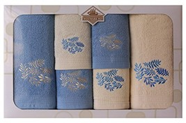 Westward Ho! Autumn Embroidery Box Towel, Cream/Blue - $90.04