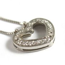 SOLID 18K WHITE GOLD NECKLACE WITH HEART DIAMONDS, DIAMOND MADE IN ITALY image 4