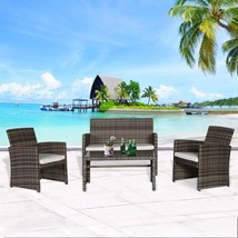 4 PC Rattan Furniture Set Patio Wicker Sectional Sofa Garden Lawn Cushio... - $219.99