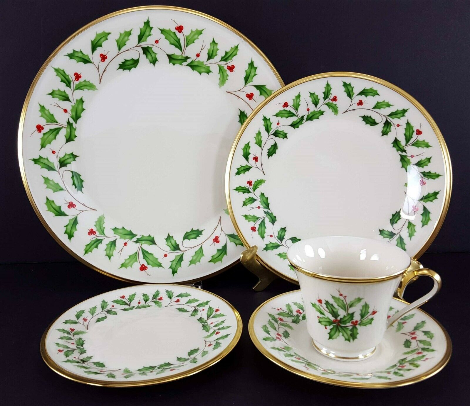 LENOX China Holiday Dimension 5 Piece Place Setting Dinnerware USA