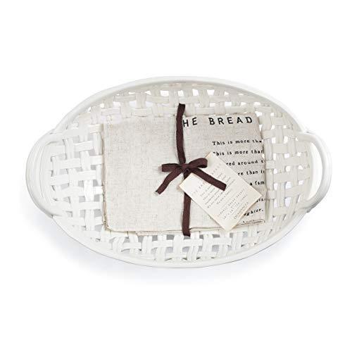 16 X 11 Sweat Towel: Bread Basket White 16 X 11 Ceramic Earthenware Decorative