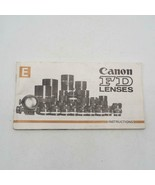 Vintage Canon FD Lenses Instructions Manual / Booklet 1970's - $34.28